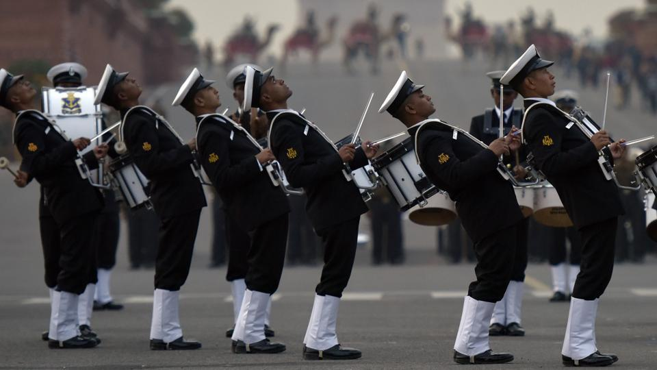 Navy bands were seen rehearsing for the Beating Retreat Ceremony. (Ravi Choudhary/HT Photo)