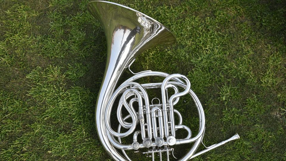 A closeup of a French Horn musical instrument used by the bands. (Ravi Choudhary/HT Photo)