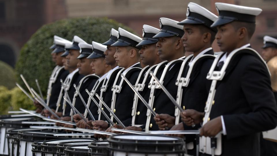 The famed Navy bands go about their routine. (Ravi Choudhary/HT Photo)