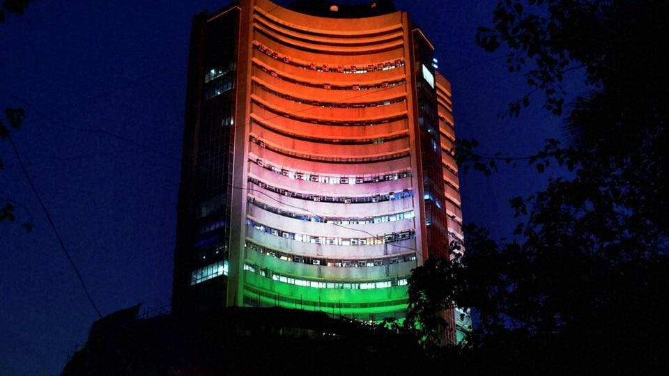 The Bombay Stock Exchange building lit up in tricolour on Republic Day eve in Mumbai on Wednesday. (PTI photo)