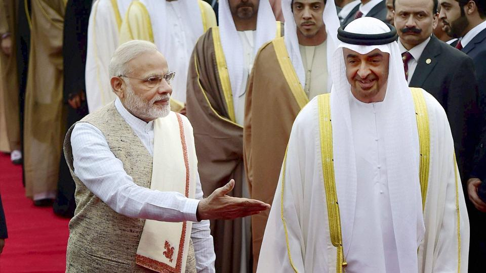Prime Minister Narendra Modi welcomes Sheikh Mohammed Bin Zayed, crown prince of Abu Dhabi and deputy supreme commander of the armed forces, upon his arrival on a state visit to India, at AFS Palam in New Delhi on Tuesday. The Crown Prince is the chief guest at India's Republic Day celebrations.