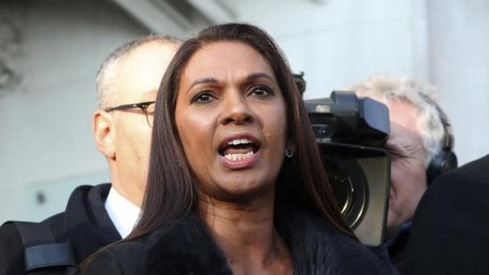 Gina Miller speaks outside the Supreme Court following the decision of a court ruling that Theresa May's government requires parliamentary approval to start the process of leaving the European Union, in Parliament Square, central London, Britain.