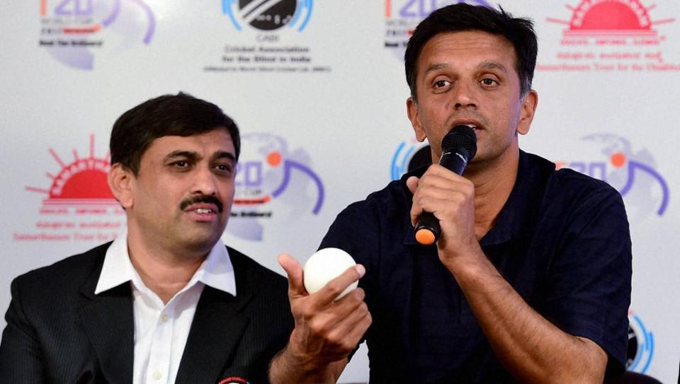Rahul Dravid speaks during an event to announce him as a Brand Ambassador for the second T20 World Cup Cricket for the Blind 2017.