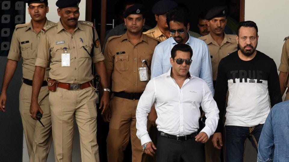 Actor Salman Khan on arrival at Mumbai Domestic Airport after getting acquitted in Arms Act case Jodhpur court on Jan 18.