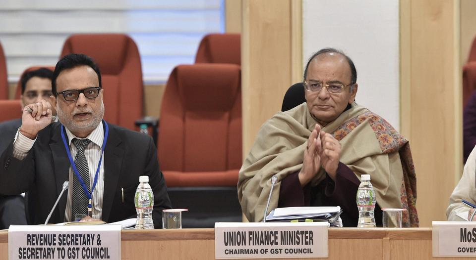 New Delhi: Union Minister for Finance and Corporate Affairs, Arun Jaitley with MoS for Finance, Santosh Kumar Gangwar  at Vigyan Bhawan at the ninth GST Council Meeting in New Delhi.