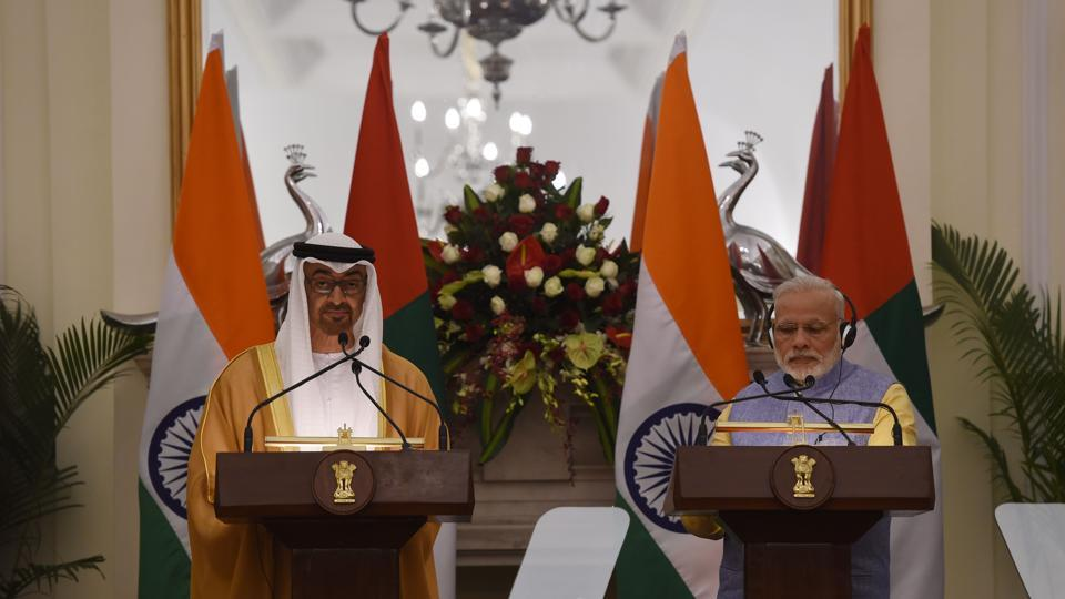 Prime Minister Narendra Modi (right) and the Crown Prince of Abu Dhabi, General Sheikh Mohammed Bin Zayed Al Nahyan at a press conference in New Delhi on January 25.
