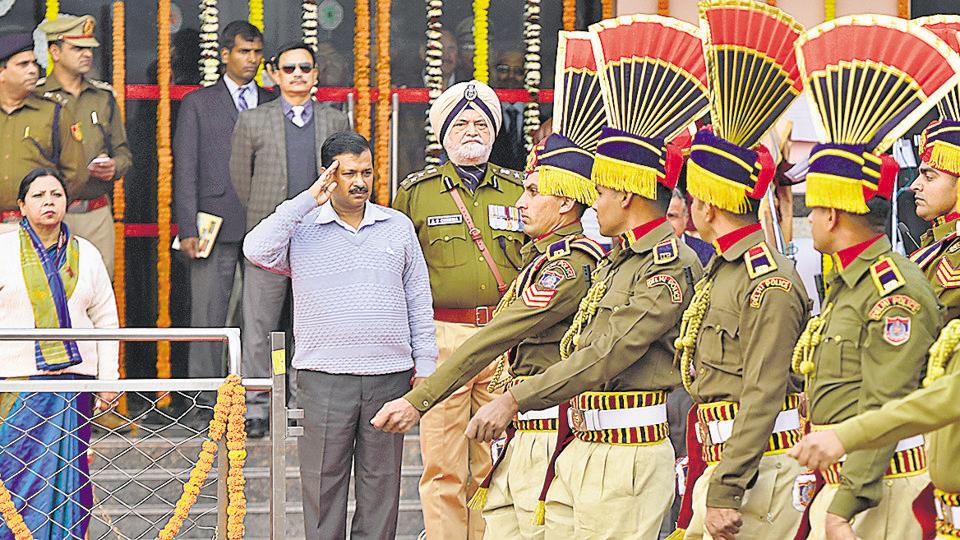 Chief Minister Arvind Kejriwal during the Republic Day celebrations at Chhatrasal Stadium  on Wednesday.