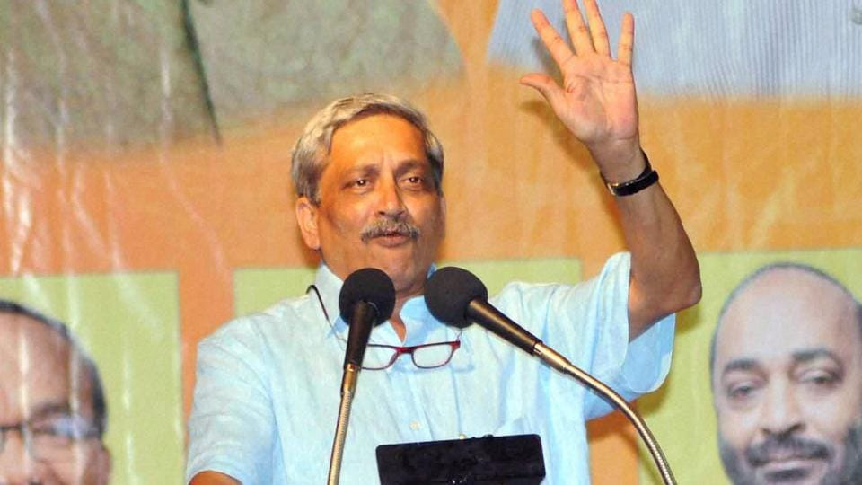 Vasco: Union Defence Minister Manohar Parrikar addressing a BJP election meeting in Vasco town, Goa on Monday. PTI Photo (PTI1_23_2017_000285B)