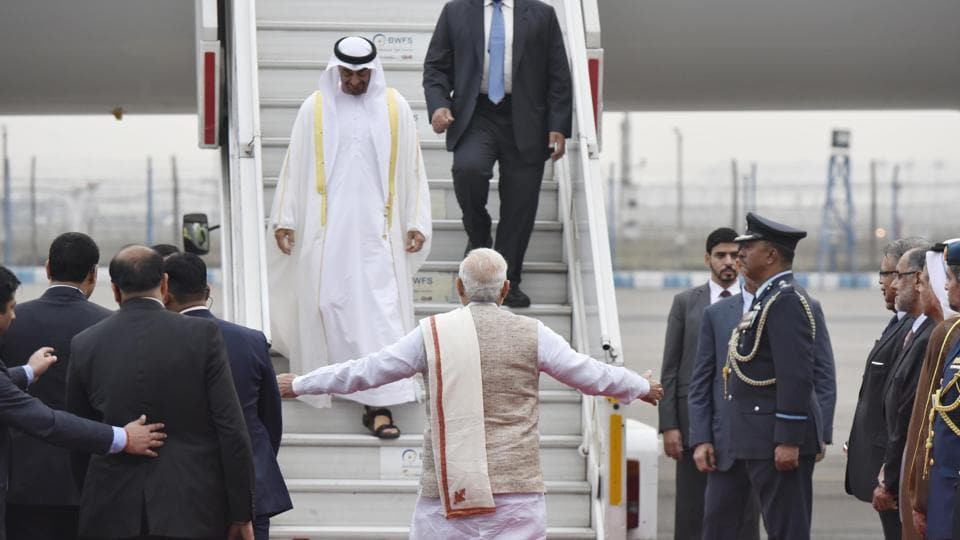 Prime Minister Narendra Modi greets Sheikh Mohammed bin Zayed Al Nahyan, Crown Prince of Abu Dhabi and Deputy Supreme Commander of the Armed Forces, upon his arrival on a state visit to India, at AFS Palam in New Delhi on Tuesday.