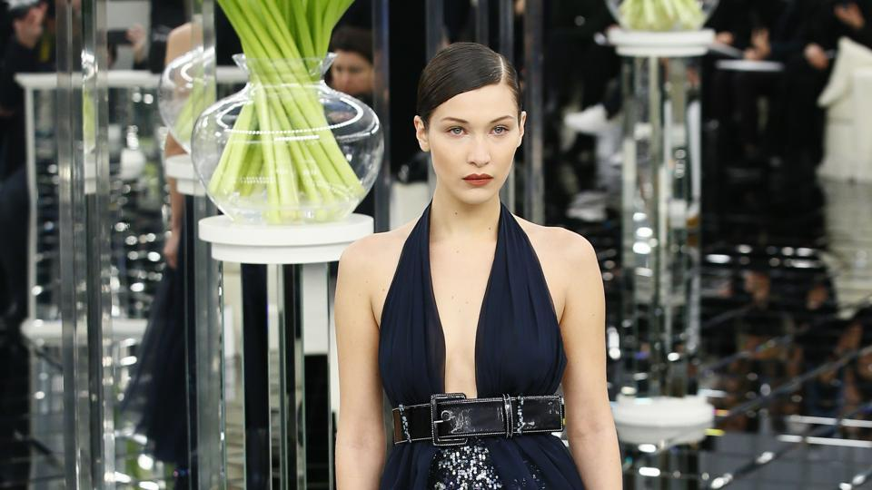 Model Bella Hadid wears a creation for Chanel's Haute Couture Spring-Summer 2017 fashion collection presented in Paris on Tuesday. (AP)