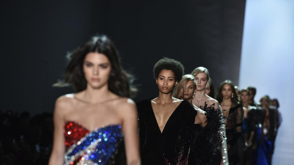 Models wear creations by Alexandre Vauthier during his Haute Couture Spring-Summer 2017 fashion collection presented in Paris on Tuesday. (AP)