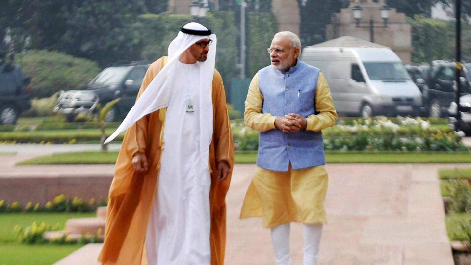 Prime Minister Narendra Modi with the Crown Prince of Abu Dhabi, Sheikh Mohammed bin Zayed al Nahyan, at Hyderabad House in New Delhi.