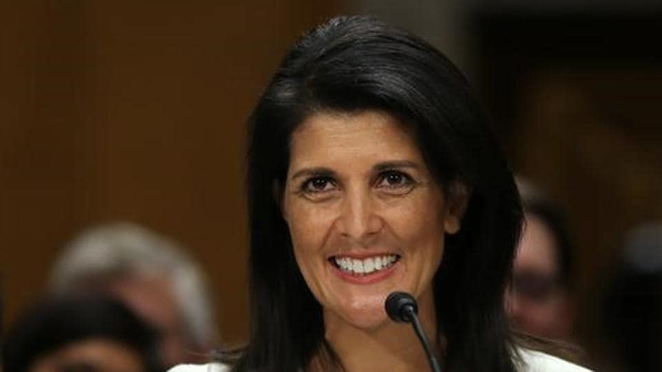 Former South Carolina governor Nikki Haley testifies before a Senate Foreign Relations Committee confirmation hearing on her nomination to be to US ambassador to the United Nations at Capitol Hill in Washington.