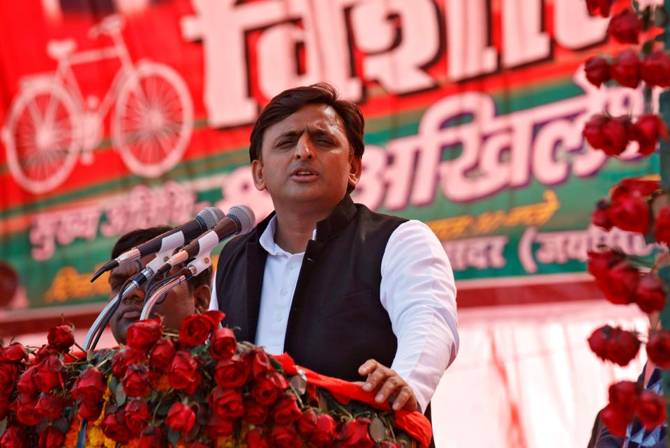 Samajwadi Party president and Uttar Pradesh chief minister Akhilesh Yadav addresses an election rally in Sultanpur on Tuesday.