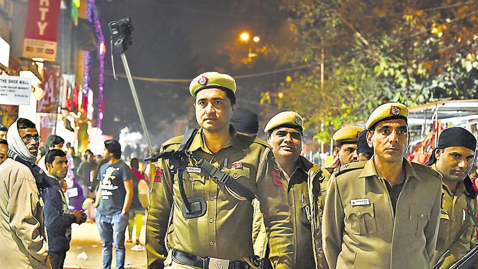 Delhi Police officials at the Sarojini Nagar Market on the eve of Republic Day.