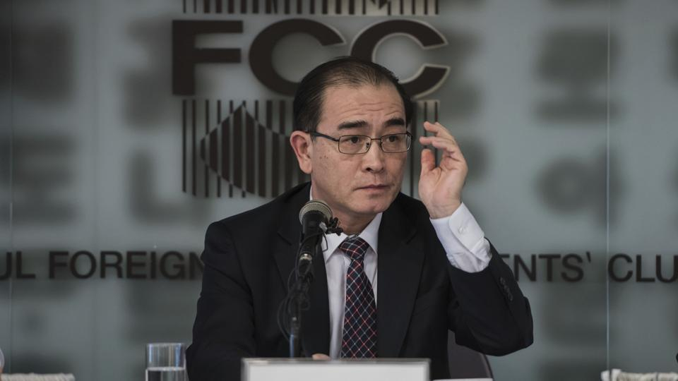 Former North Korean deputy ambassador to the UK, Thae Yong Ho speaks with media at the Foreign Correspondents Club in Seoul, South Korea, Wednesday, Jan. 25, 2017.