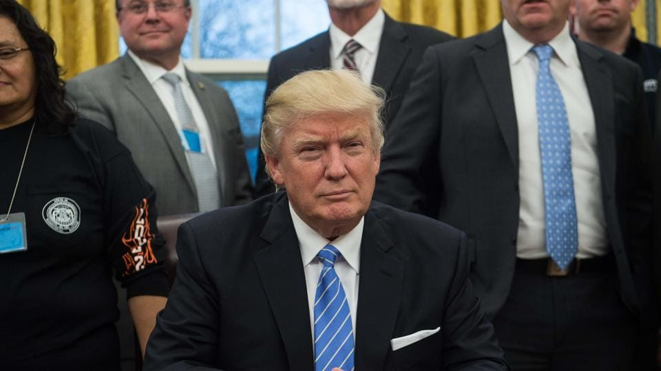 US President Donald Trump n the Oval Office at the White House in Washington, DC.