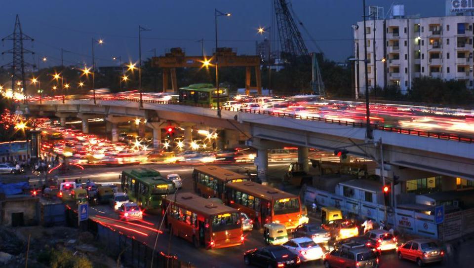 Ashram Chowk,traffic jam,Metro construction