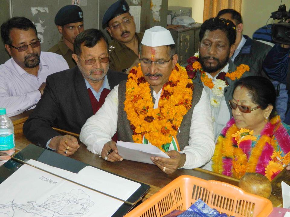 Uttarakhand Congress chief Kishore Upadhyay files nomination from Sahaspur on Friday.