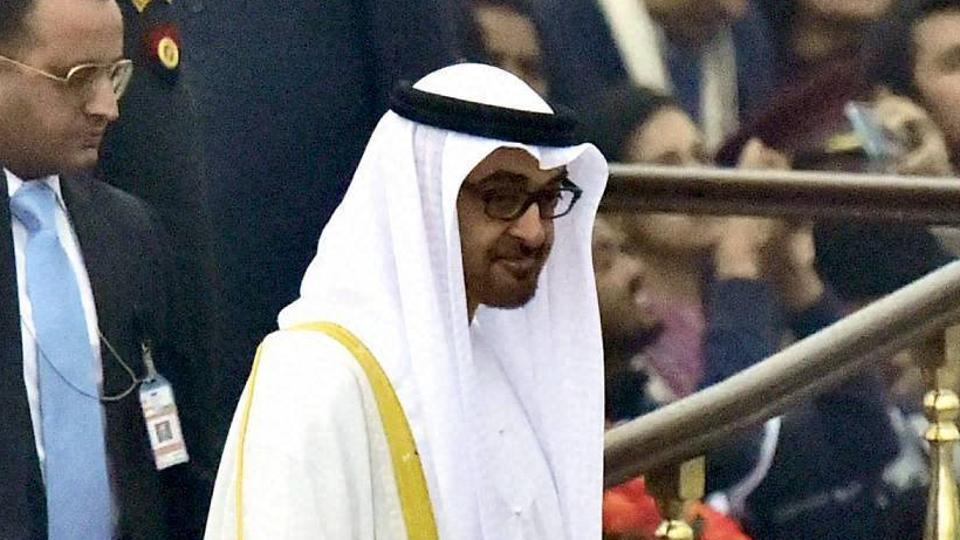 Sheikh Mohammed Bin Zayed Al Nahyan, Crown Prince of Adu Dhabi leaves after attending the 68th Republic Day celebrations at Rajpath in New Delhi.