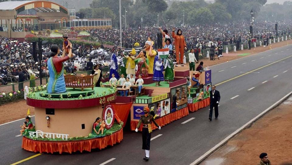 The tableau of Haryana passes through the Rajpath during the 68th Republic Day parade in New Delhi.