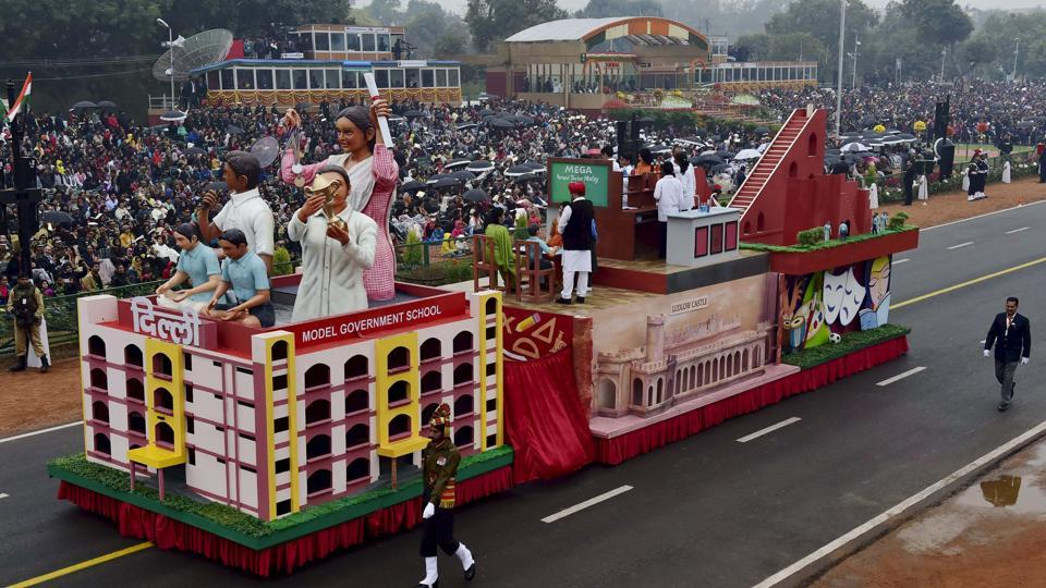 The tableau of Delhi passes through the 68th Republic Day Parade at Rajpath in New Delhi on Thursday.