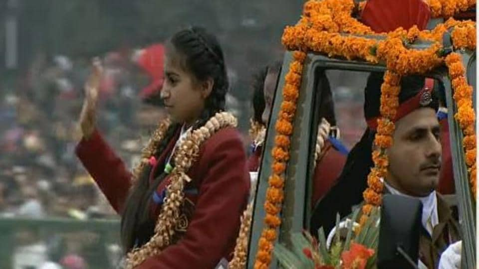 National Bravery Award winners at the Republic Day parade.