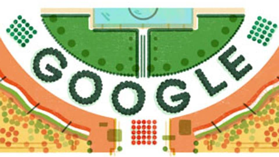 Search giant Google in its special doodle to mark the 68th Republic Day on Thursday showed a stadium full of people amid a sea of tricolour decking up the arena.