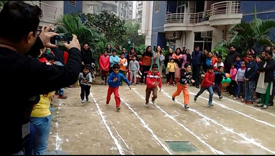 Students perform during a cultural programme at Ghaziabad police lines on Thursday.