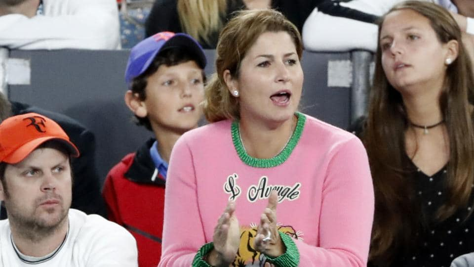 Mirka Federer cheers on husband Roger Federer of Switzerland during his semifinal against compatriot Stan Wawrinka at the Australian Open tennis championships in Melbourne on Thursday
