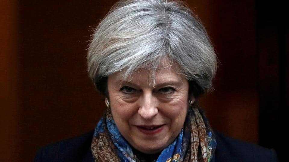 Britain's Prime Minister Theresa May leaves Number 10 Downing Street in London.