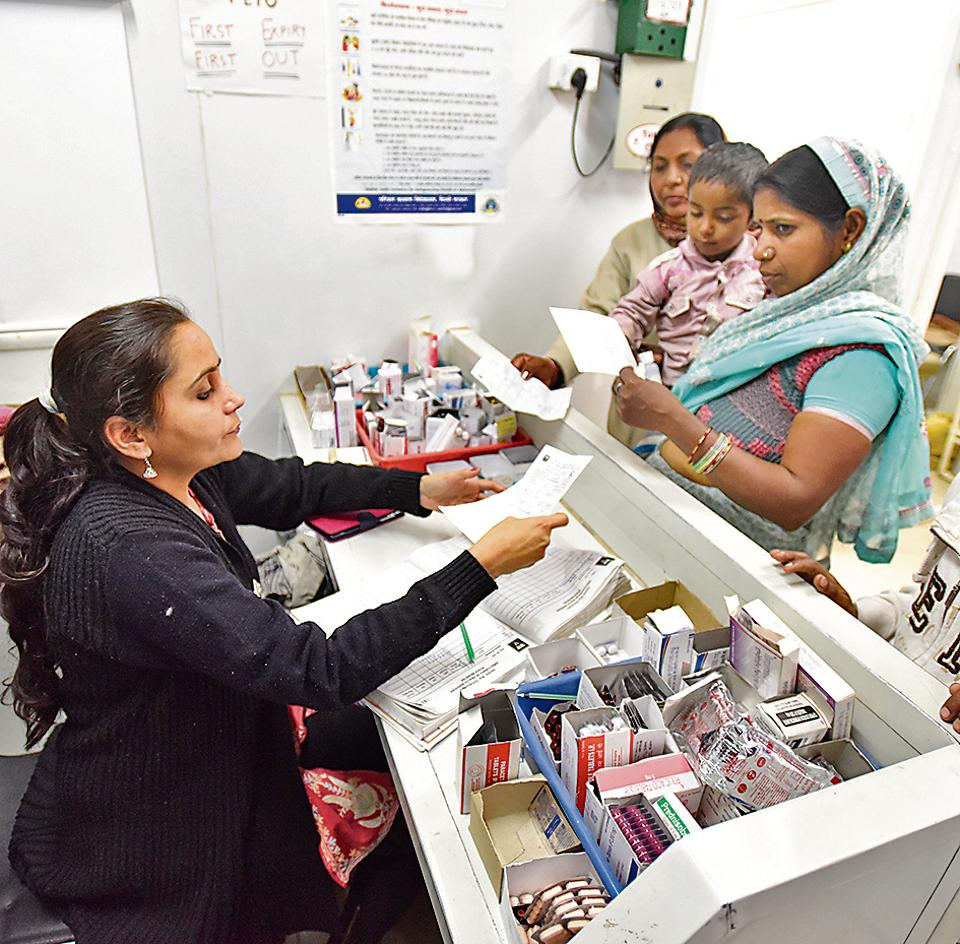 An Aam Adami Mohalla Clinic at Peeragarhi in New Delhi. The clinics, set up across the city, are a crucial link in providing primary health care in the Capital.