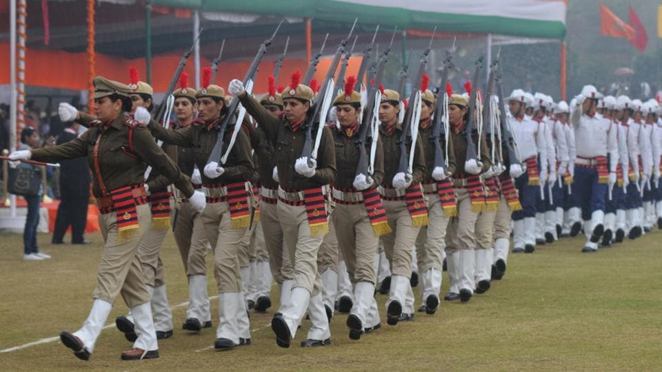 The women battalion marches past during the 68th Republic Day parade at Tau Devi Lal Stadium on Thursday.