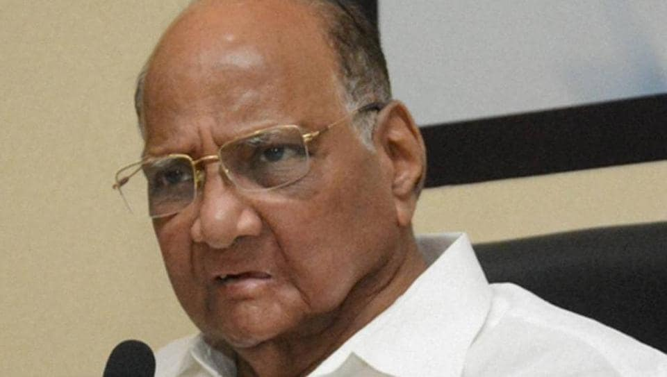 NCP chief Sharad Pawar addresses a press conference in Mumbai.