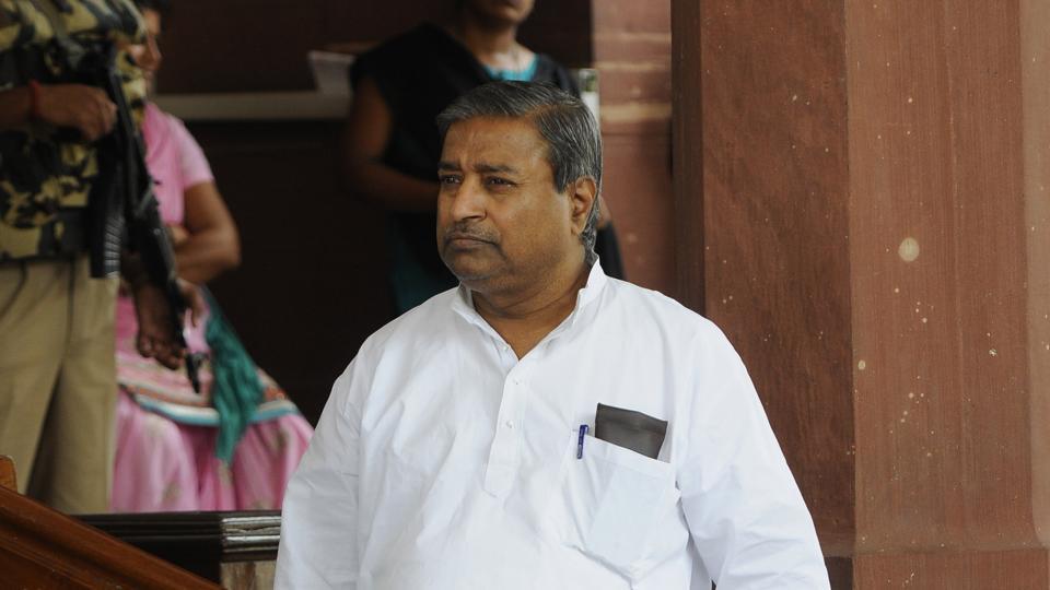 Senior BJPleader Vinay Katiyar at the Parliament Complex in New Delhi.