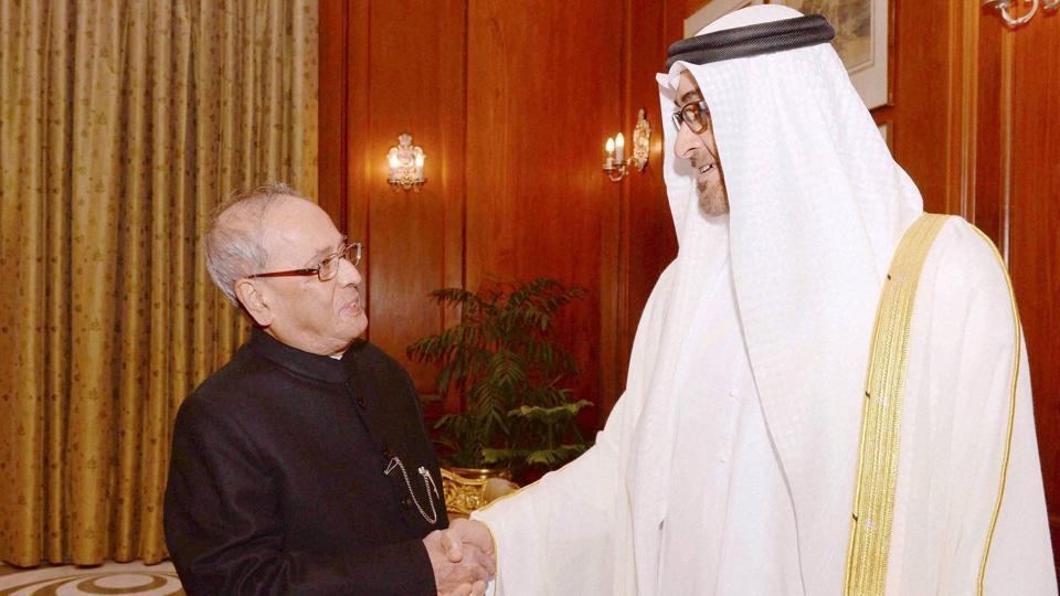 India-UAE,President Pranab Mukherjee,Sheikh Mohammed bin Zayed Al Nahyan
