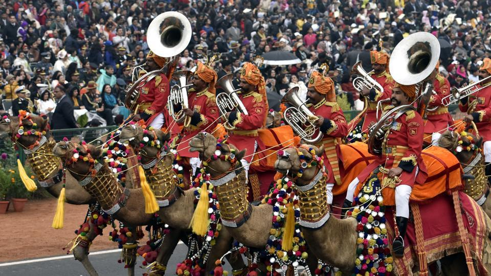 The colourful contingent of Border Security Force men riding regally decked up camels at the Rajpath got a huge round of applaud from the spectators during the Republic Day Parade. (Mohd Zakir/HT PHOTO)