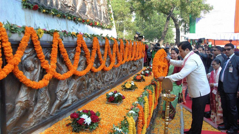 Assam chief minister Sarbananda Sonowal pays floral tributes to martyrs during the 68th Republic Day celebrations at Sradhanjali Kanan in Guwahati on Thursday.