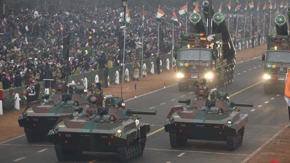 Infantry Combat Vehicle BMP-2K on display during the 68th Republic Day parade at Rajpath in New Delhi,on Thursday. The nearly 100-minute parade displayed India's latest weaponry, including missiles and Indian-manufactured radar systems. (Raj K Raj/HT photo)