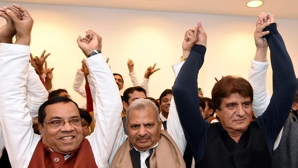 Samajwadi Party and Congress leaders during a joint press conference in Lucknow.