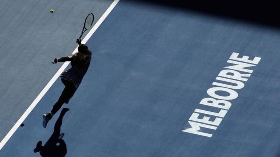 Serena Williams  hits a shot during her Women's singles semi-final match against Mirjana Lucic-Baroni. (REUTERS)