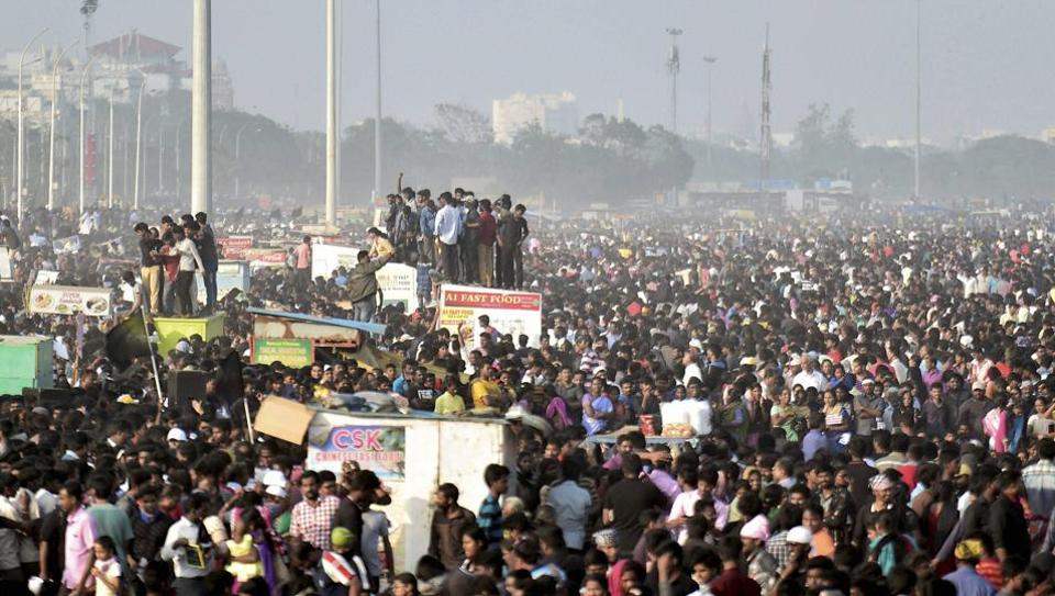 Students during the protest to lift the ban on Jallikattu at Marina Beach in Chennai.