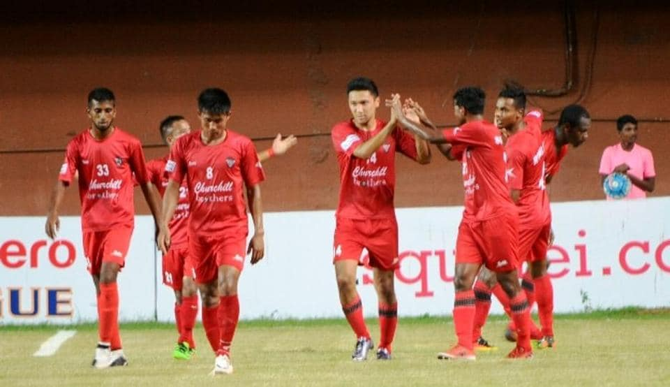 Churchill Brothers players celebrate after scoring a goal against Bengaluru FC in I-League.
