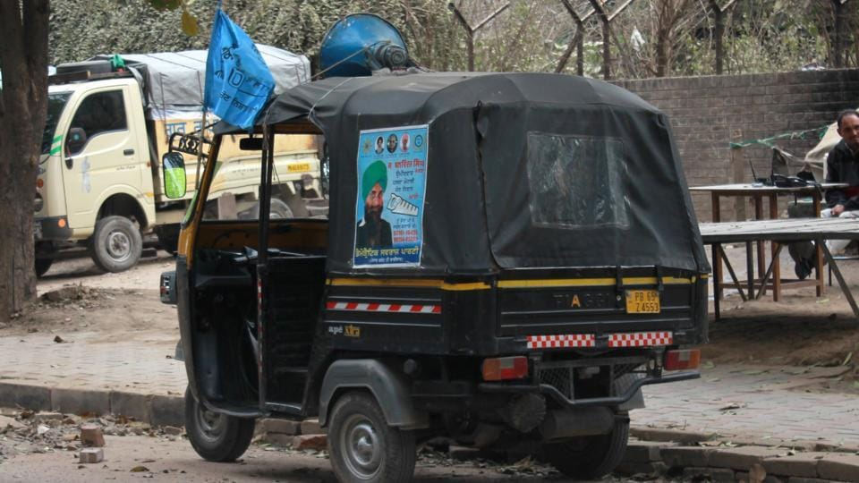 An auto-rickshaw playing music in support of a candidate in SASNagar on Wednesday