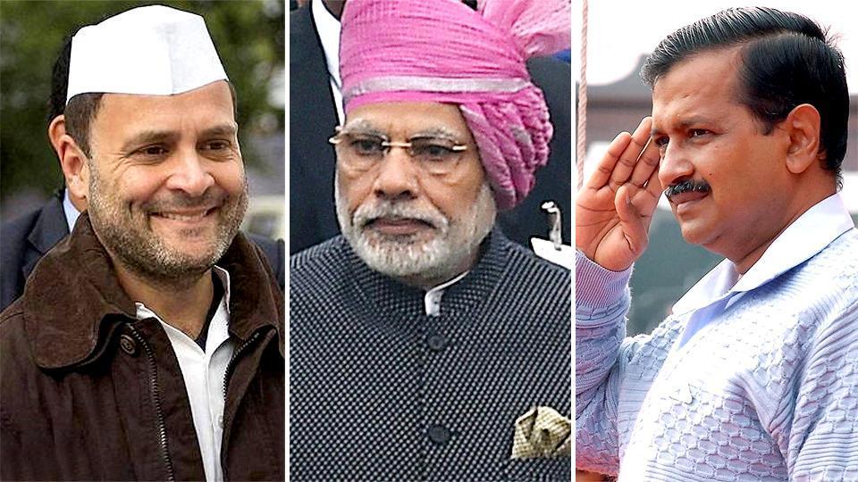 A combination photo of Congress vice president Rahul Gandhi (L), Prime Minister Narendra Modi and Delhi CM Arvind Kejriwal.