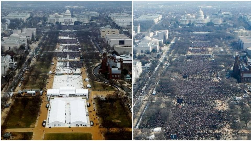 Crowd at the Donald Trump's inauguration (L) was much less in numbers than Barack Obama's inauguration (R) in 2009.