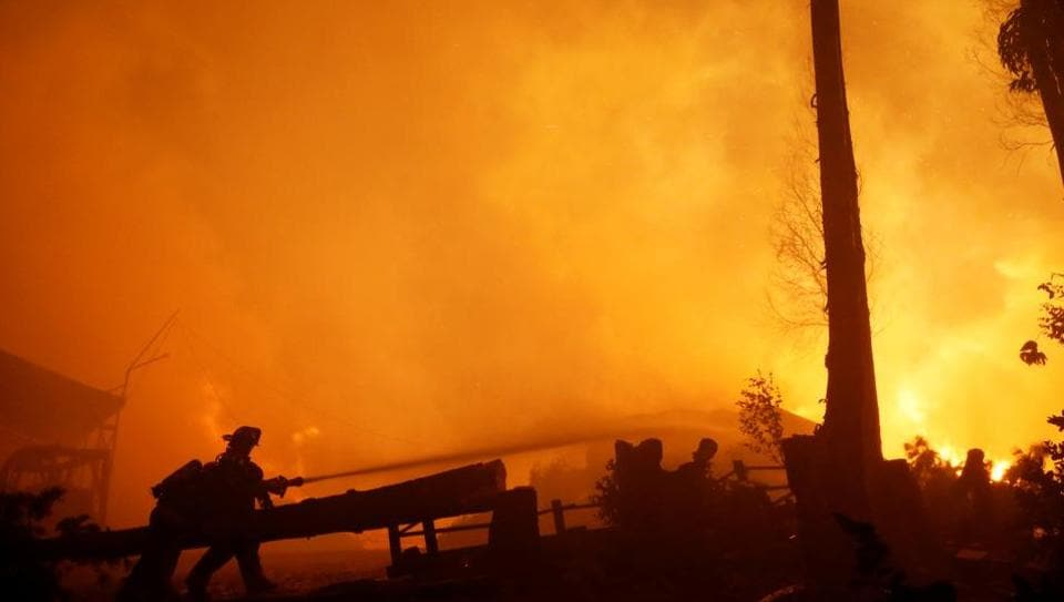 Firefighters try to stop the worst wildfires in Chile's modern history. The fire has ravaged wide swaths of the country's central-south regions, in Santa Olga, Chile. (Rodrigo Garrido/Reuters)
