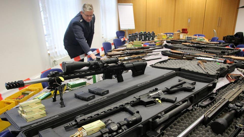 Police display weapons seized in Solingen , Germany from the radical right-wing 'Reichsbuerger' group, in Wuppertal. The weapons had previously been in the possession of two members of the anti-government organisation.