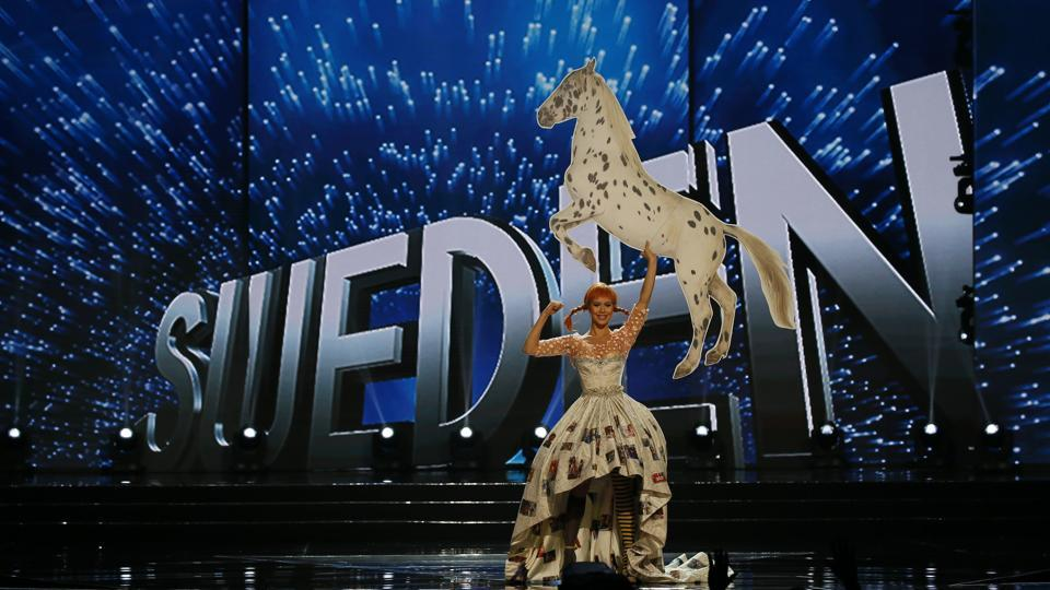 Ida Ovmar of Sweden parades in costume. A total of 86 contestants are vying for the title in the grand coronation on January 30 to succeed Pia Wurtzbach of the Philippines. (AP)