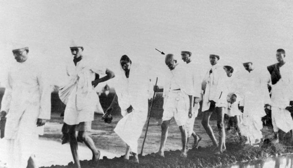 Mahatma Gandhi  and some of his followers on their way to the shore at Dandi to break the salt laws.  Gandhi's biggest strength are his detractors. The more they resist him, the more his ideas will keep inspiring people.